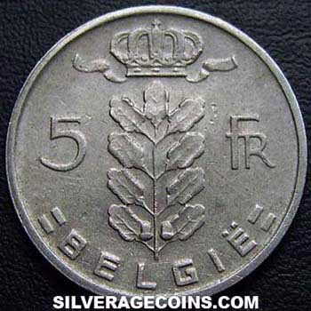 1965 Belgian 5 Francs (Dutch, coin alignment)