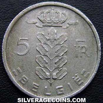 1971 Belgian 5 Francs (Dutch, coin alignment)