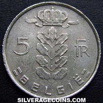 1974 Belgian 5 Francs (Dutch, coin alignment)