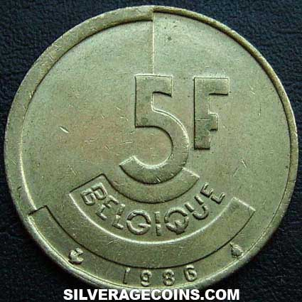 1986 Belgian 5 Francs (French)