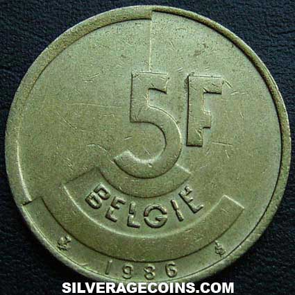 1986 Belgian 5 Francs (Dutch)