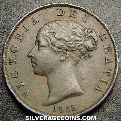 1855 Queen Victoria British Bronze Quot Young Head Quot Half Penny