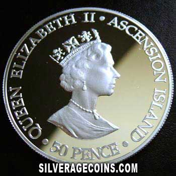 2000 Proof Ascension Islands 50 Pence Silver Proof -Queen Mother-