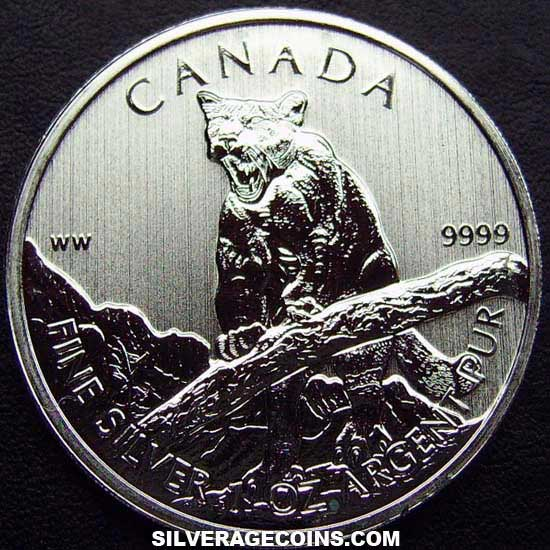 2012 Canadian 5 Dollars 1 Ounce Silver Wildlife Series (Cougar)