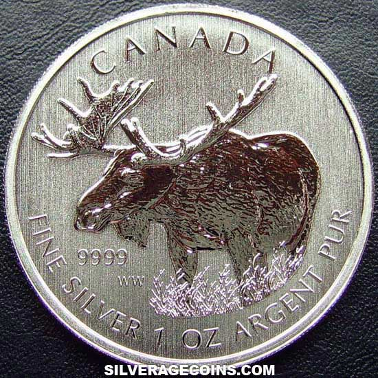 2012 Canadian 5 Dollars 1 Ounce Silver Wildlife Series (Moose)