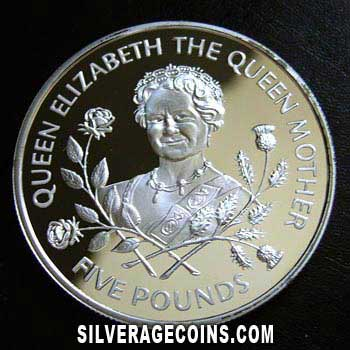 1995 Proof Guernsey Elizabeth II Silver Proof 5 Pounds (The Queen Mother)