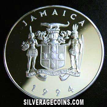 1994 Proof Jamaica Elizabeth II 25 Dollars Silver Proof (wedding anniversary)