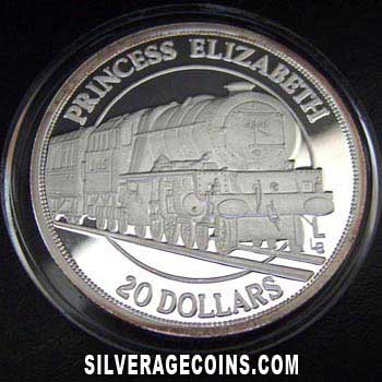 1996 Proof Turks & Caicos 20 Crowns Silver Proof (Prince Elizabeth Locomotive)