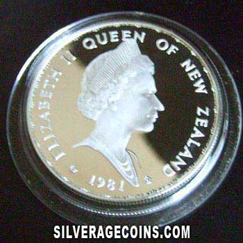 1981 Proof New Zealand Elizabeth II  Silver Proof 1 Dollar (Royal Visit) [Boxed]