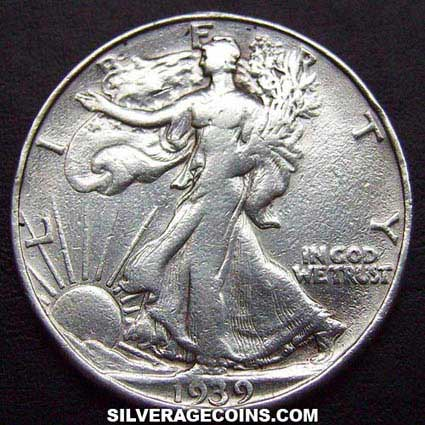 1939 D United States Walking Liberty Silver Half Dollar