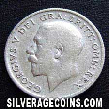 1920 George V British Silver Sixpence