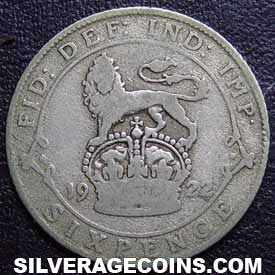 1922 George V British Silver Sixpence