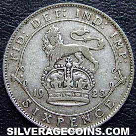 1923 George V British Silver Sixpence