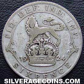1924 George V British Silver Sixpence