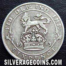 1913 George V British Silver Sixpence