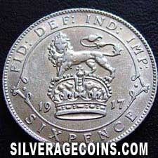 1917 George V British Silver Sixpence