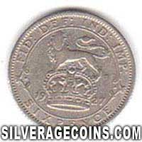 1927 George V British Silver Sixpence