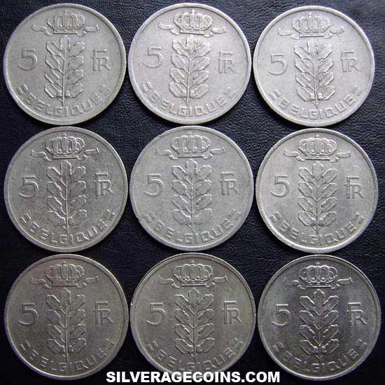 1949-1975 (9) Lot of 9 Different Dates Belgian 5 Francs (Dutch, coin alignment)