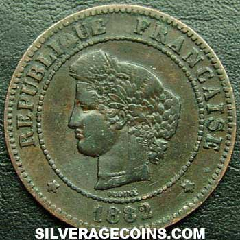 1882A French Bronze 5 Cents