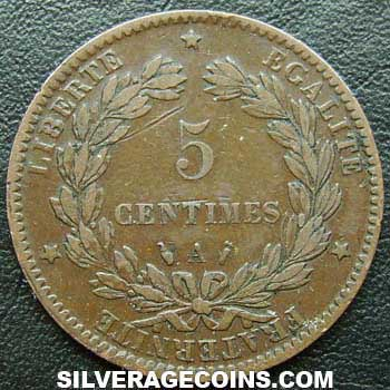 1888A French Bronze 5 Cents