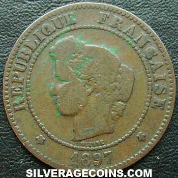 1897A French Bronze 5 Cents