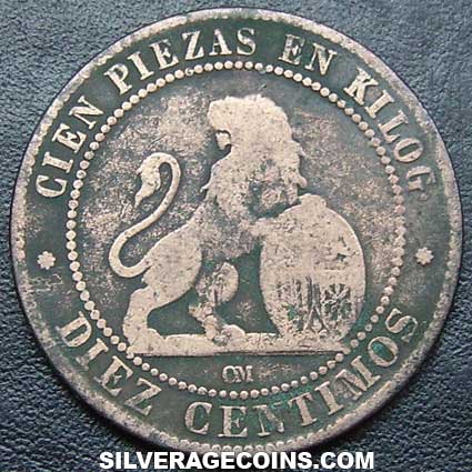 1870 OM Spanish Provisional Government 10 Cents