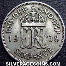1938 George VI British Silver Sixpence