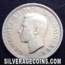 1939 George VI British Silver Sixpence