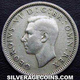 1944 George VI British Silver Sixpence