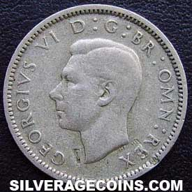 1945 George VI British Silver Sixpence