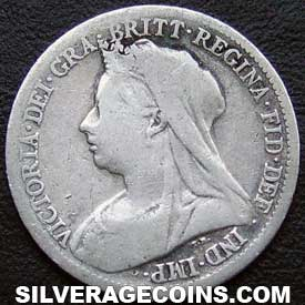 "1900 Victoria British Silver ""Widow Head"" Sixpence"