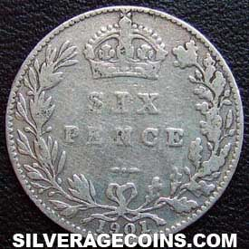 "1901 Victoria British Silver ""Widow Head"" Sixpence"