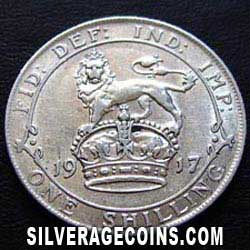 1917 George V British Silver Shilling (type 1)