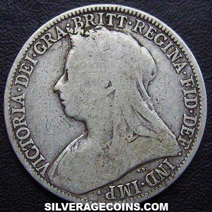 "1895 Queen Victoria British Silver ""Widow Head"" Florin"