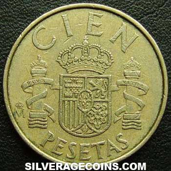 1982 lis up Juan Carlos I Spanish 100 Pesetas