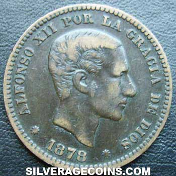 1878 Om Alfonso Xii Spanish 5 Cents Silveragecoins