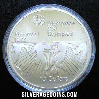 1976 Canadian Silver 10 Dollars (Montreal Olympics, Football)