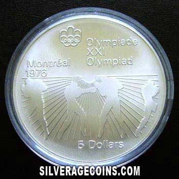 1976 Canadian Silver 5 Dollars (Montreal Olymbics, Boxing)