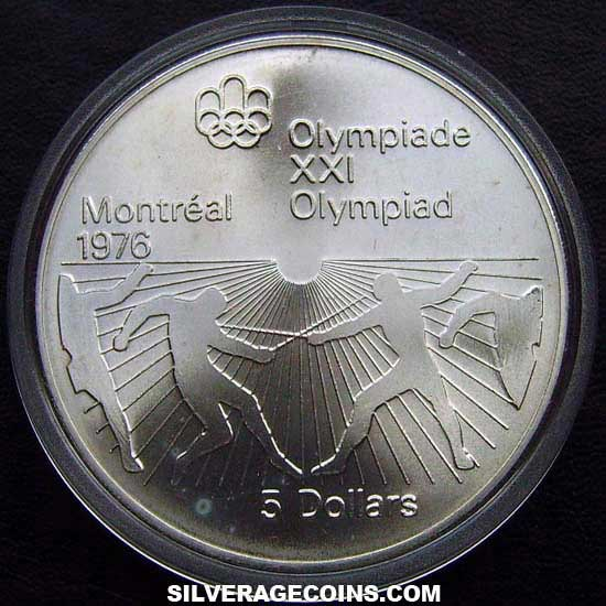 1976 Canadian Silver 5 Dollars (Montreal Olympics, Fencing)