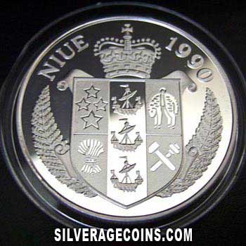 1990 Proof Niue 50 Dollars Silver Proof (Italy 1990 World Cup)