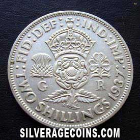 1937-1A George VI British Silver 2 Shillings