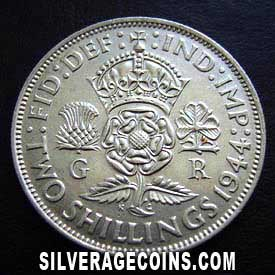 1944 George VI British Silver 2 Shillings