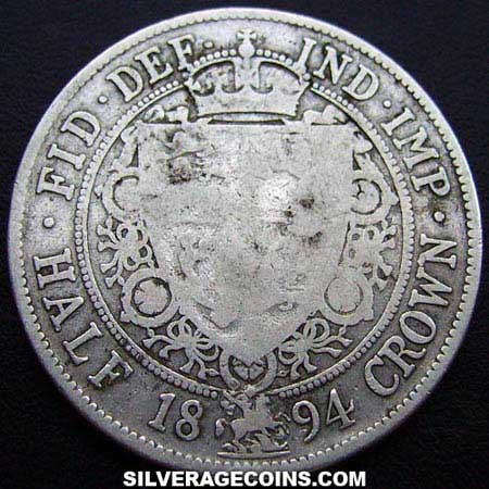 "1894 Queen Victoria British Silver ""Widow Head"" Half Crown"