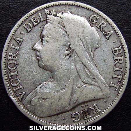 1895 Queen Victoria British Silver Quot Widow Head Quot Half Crown