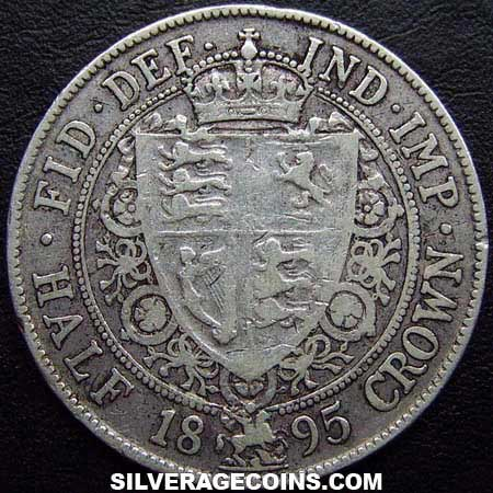 "1895 Queen Victoria British Silver ""Widow Head"" Half Crown"