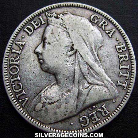 "1899 Queen Victoria British Silver ""Widow Head"" Half Crown"