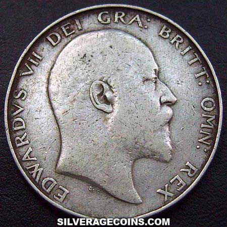 1902 Edward VII British Silver Half Crown