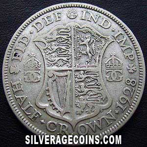1928-1C George V British Silver Half Crown