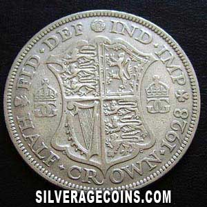 1928-2B George V British Silver Half Crown