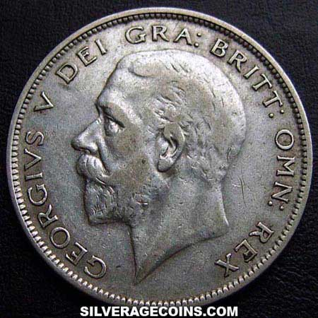 1929-1D George V British Silver Half Crown